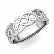 Mens Celtic Knot Ring in Platinum Comfort Fit Band, 6.5mm