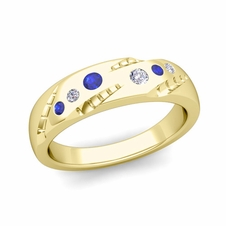 Organica Flush Set Diamond and Sapphire Wedding Ring in 18k Gold, 5mm