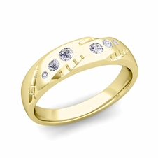 Mens Flush Set Diamond Wedding Band in 18k Gold, 6mm