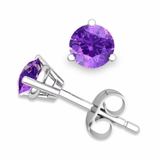Amethyst Stud Earrings in 14k Gold 3 Prong Martini Studs, 6mm