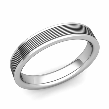 Groove Comfort Fit Mens Wedding Band Ring In Platinum 4mm