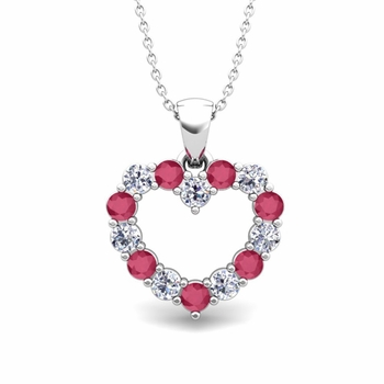 Diamond and ruby necklace in 14k gold pendant heart diamond and ruby necklace in 14k gold pendant aloadofball Gallery