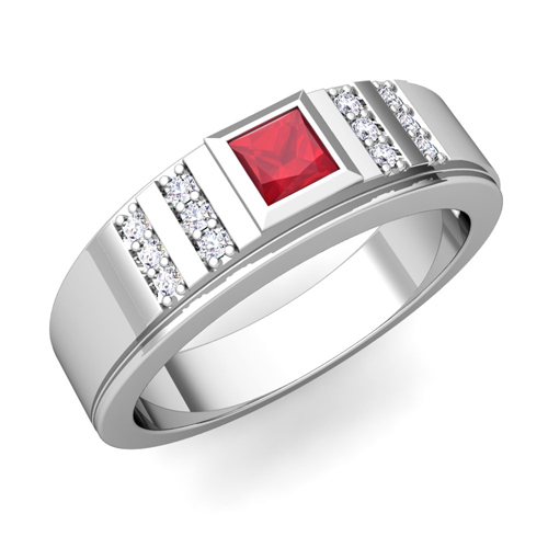 My Love Princess Cut Ruby Diamond Mens Wedding Band In 14k Gold