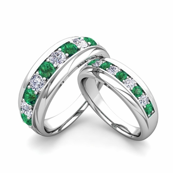 matching wedding band in platinum brilliant diamond and emerald wedding rings - His And Her Wedding Ring Set