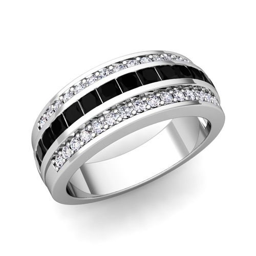 Princess Cut Black Diamond Wedding Ring Band For Women In 14k Gold