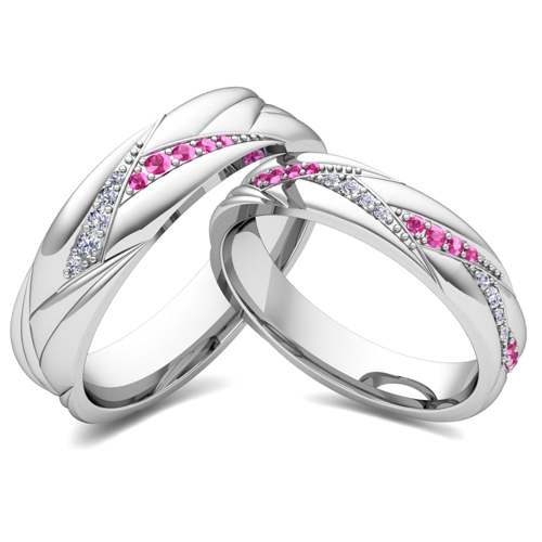 matching wave wedding band in 14k gold pink sapphire and diamond ring - Pink Wedding Ring Set