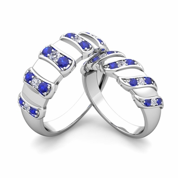 Twisted Gemstone Band Custom His and Hers Wedding Ring Set