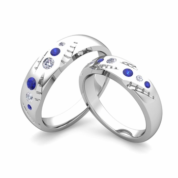 matching wedding ring set flush set diamond and sapphire ring in platinum - Unique Wedding Ring Sets For Him And Her