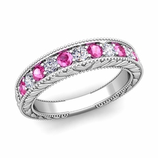 Vintage Inspired Diamond And Pink Sapphire Wedding Ring Band In 14k Gold113800