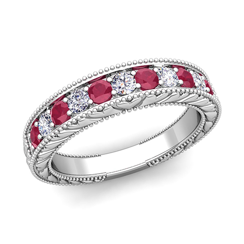 vintage inspired diamond and ruby wedding ring band in 14k gold - Ruby Wedding Rings