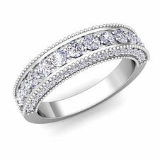 Vintage Inspired Diamond Wedding Ring Band in Platinum