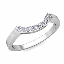 Diamond Wedding Band in Platinum Curved Wedding Band