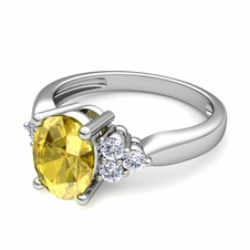 Three Stone Diamond and Yellow Sapphire Engagement Ring in 14k Gold, 7x5mm