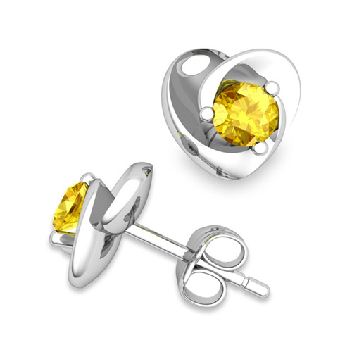 Petal Heart Yellow Sapphire Stud Earrings in 14k Gold, 4x4mm
