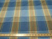 ft981, Roxy Cornflower blue yellow green plaid upholstery fabric