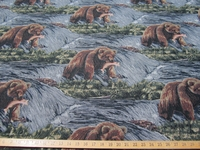 ft868, Grizzly Bear with fish tapestry