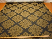 r9505b, 3 3/8 yards of black onyx and gold damask upholstery fabric
