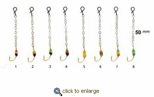 Hali Ice Fishing Jigs Glow Bead Chain & Hook 2pk