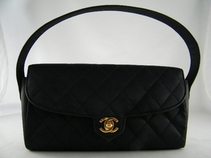 Gorgeous! Chanel Black Satin Nylon Evening Purse Bag (Clearance)