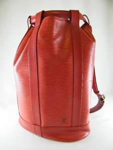Auth Louis Vuitton PM Red Epi Randonnee Backpack Bag
