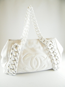 Authentic CHANEL WHITE LEATHER RESIN MODERN CHAIN LARGE BAG TOTE (SOLD!)