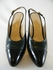 Authentic Chanel Green and Black Leather Sling Back Heels Shoes (Clearance)