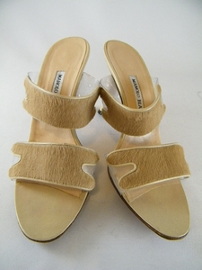 Authentic Manolo Blahnik Horse Hair Tan Leather Heels Sandals Shoes (Clearance)