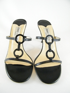 Authentic Jimmy Choo Black Leather Heels Sandals Mules Shoes (Clearance)