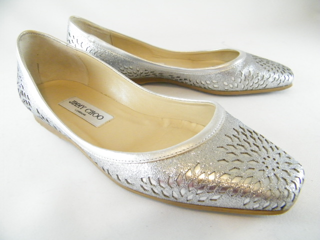 Authentic Jimmy Choo Silver Glitter Flats (SOLD!)