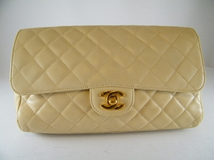 $1600 Authentic Chanel Beige Quited Evening Leather purse Clutch (SOLD!)