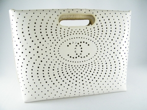 Authentic Chanel Beige Perforated Patent Leather Handbag Bag Purse Tote (SOLD!)