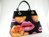 Authentic Christian Dior Limited Edition Kiss Black Fabric Patent Leather Bag Tote Handbag Purse
