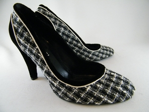 Authentic Chanel Black and Gray Velvet and Tweed Heels Shoes