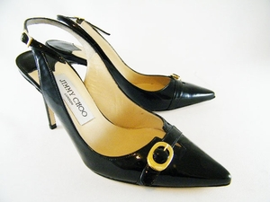 Authentic Jimmy Choo Black Patent Leather Sling Back Heels Shoes