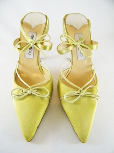 Authentic Jimmy Choo Green Pointy Satin Heels Sandals Shoes