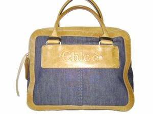 Authentic Chloe Blue Jean Fabric and Brown Distressed Leather Satchel Tote Handbag Bag Purse