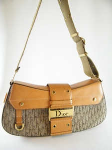 $1050 Authentic Christian Dior Brown Signature Canvas Leather Handbag (Clearance)
