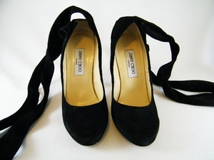 Authentic Jimmy Choo Black Suede Leather Lace Up Heels Shoes