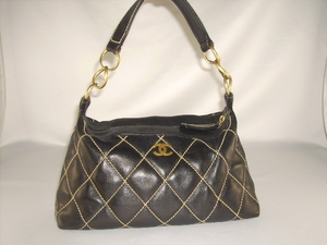 Chanel Black Leather Shoulder Bag Purse Golden Hardware (SOLD!)