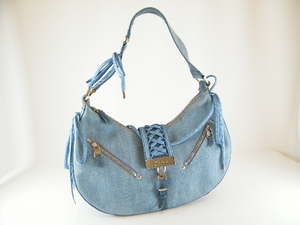 Authentic Christian Dior Blue Jean Lace and Bow Leather Bag Handbag Purse (CLEARANCE)