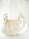 $2600! CHANEL WHITE LEATHER MODERN CHAIN LARGE BAG HOBO