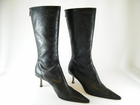 Authentic Jimmy Choo Black Perforated Leather Tall Boots Heels Shoes