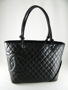 RARE! $2500 Authentic Chanel Black Cambon Large Leather Tote Bag