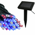 Solar Light Strand - 50 LED - Red, White and Blue