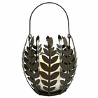 Wisteria Leaf Basket with Flameless Pillar Candle