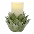 Acadia Porcelain Flower with Flameless Pillar Candle