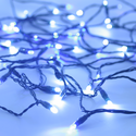 Solar String Light - 200 Blue and White LEDs - 77 Feet - with Green Wire