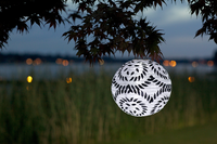 Soji LED Solar Lantern - Black and White Round - 2010 Limited Edition