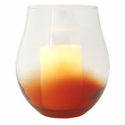 "Red Bourdeaux Stemless Hurricane with with 4x6"" Ivory Wax Flameless Candle"