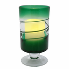"Green Venezia Footed Hurricane with 3.5 x 5"" Flameless Candle"